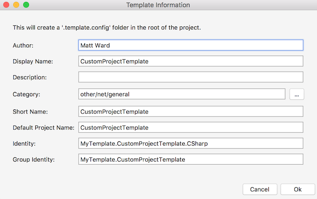 Template Information dialog