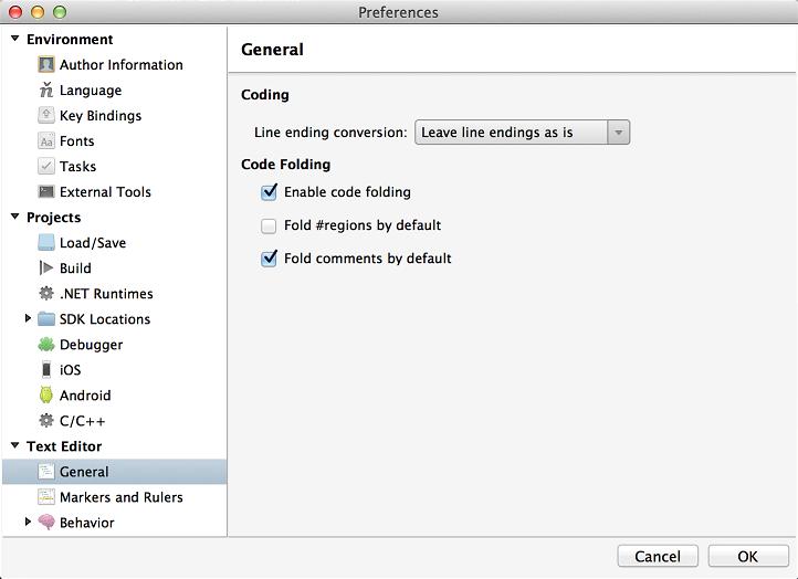 Preferences - Enabling code folding