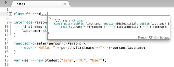 TypeScript code folding